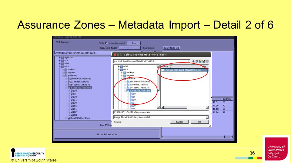 © University of South Wales Assurance Zones – Metadata Import – Detail 1 of 6 35
