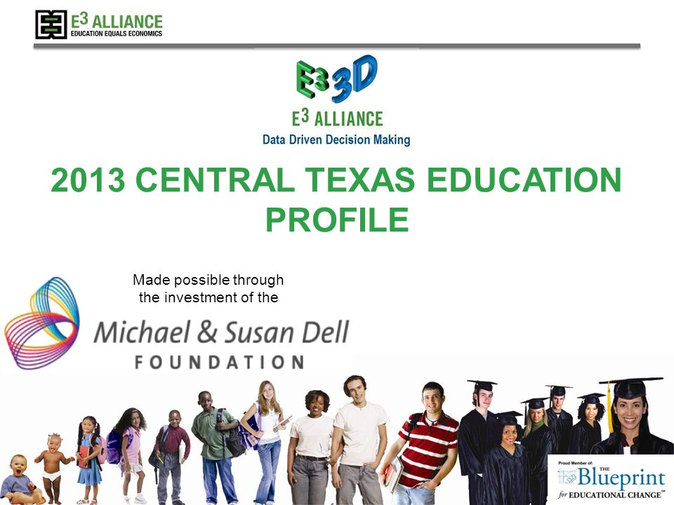 © 2013 E 3 Alliance 2013 CENTRAL TEXAS EDUCATION PROFILE Made possible through the investment of the