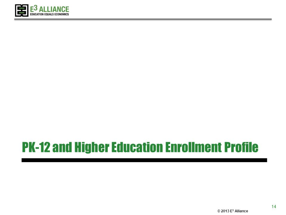© 2013 E 3 Alliance PK-12 and Higher Education Enrollment Profile 14