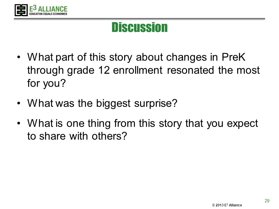 © 2013 E 3 Alliance Discussion What part of this story about changes in PreK through grade 12 enrollment resonated the most for you? What was the bigg