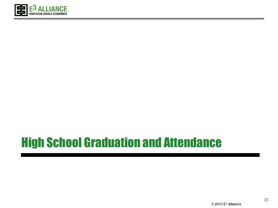 © 2013 E 3 Alliance High School Graduation and Attendance 30