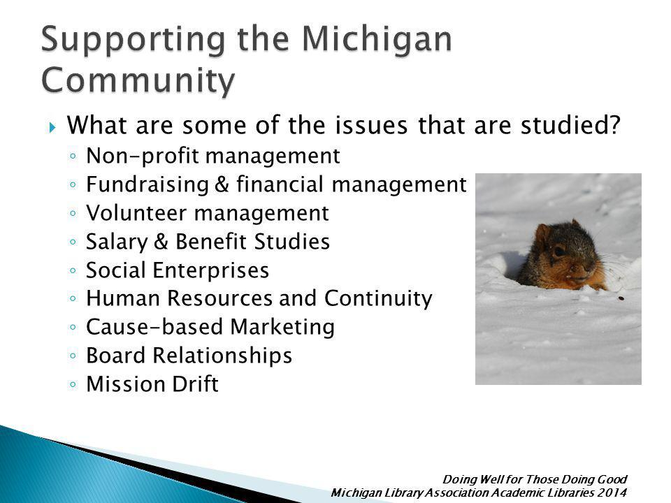 Doing Well for Those Doing Good Michigan Library Association Academic Libraries 2014  What are some of the issues that are studied.
