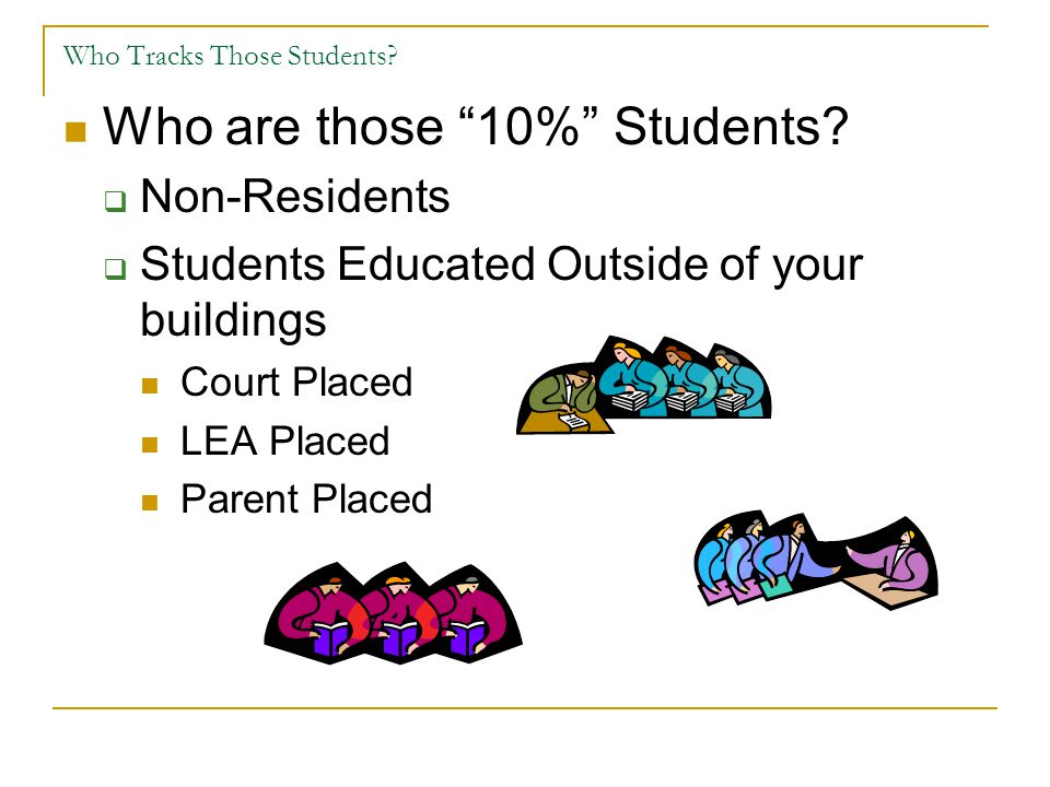 "Who Tracks Those Students? Who are those ""10%"" Students?  Non-Residents  Students Educated Outside of your buildings Court Placed LEA Placed Parent"