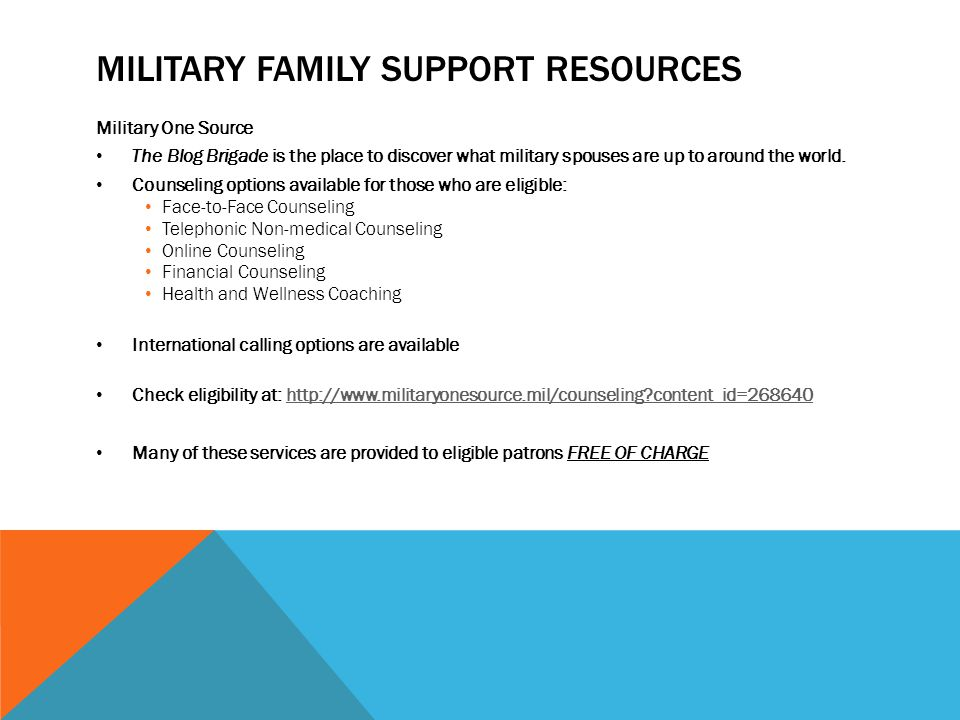 MILITARY FAMILY SUPPORT RESOURCES Military One Source The Blog Brigade is the place to discover what military spouses are up to around the world.