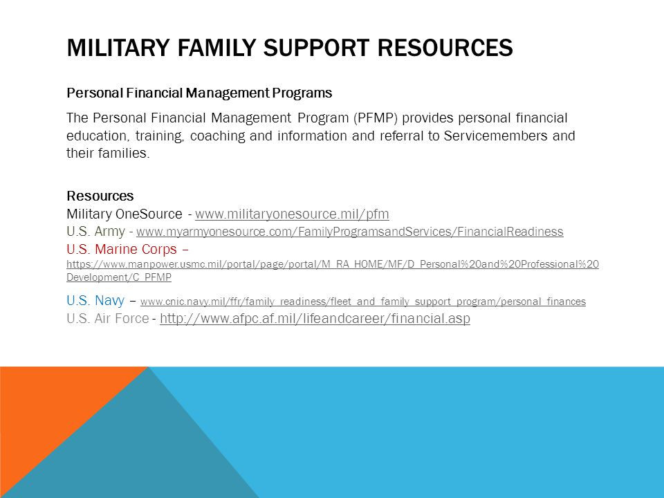 MILITARY FAMILY SUPPORT RESOURCES Personal Financial Management Programs The Personal Financial Management Program (PFMP) provides personal financial education, training, coaching and information and referral to Servicemembers and their families.