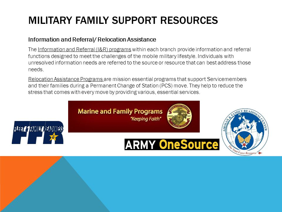 MILITARY FAMILY SUPPORT RESOURCES Information and Referral/ Relocation Assistance The Information and Referral (I&R) programs within each branch provide information and referral functions designed to meet the challenges of the mobile military lifestyle.