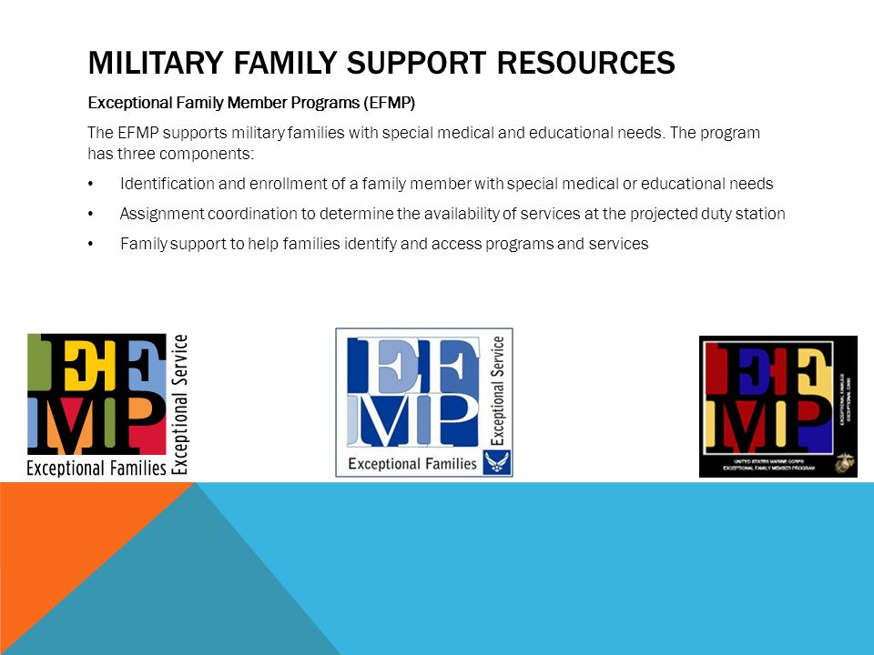 MILITARY FAMILY SUPPORT RESOURCES Exceptional Family Member Programs (EFMP) The EFMP supports military families with special medical and educational needs.