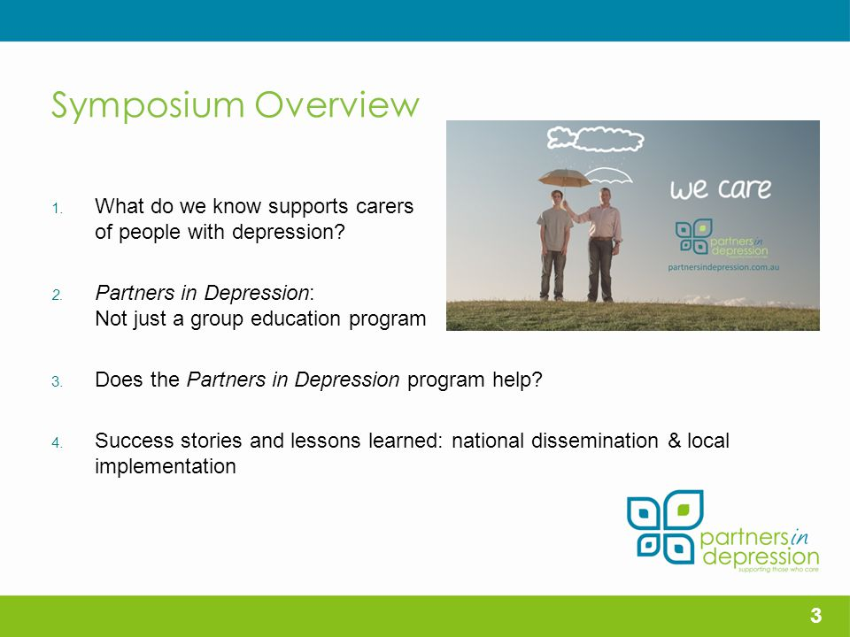 Symposium Overview 1.What do we know supports carers of people with depression.