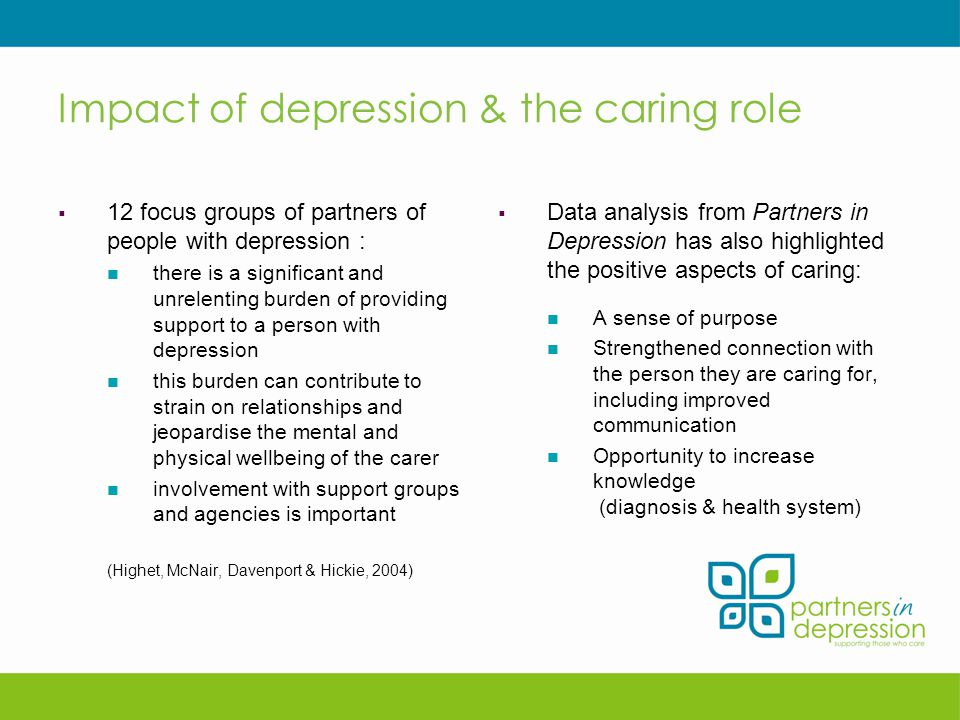 Impact of depression & the caring role  12 focus groups of partners of people with depression : there is a significant and unrelenting burden of providing support to a person with depression this burden can contribute to strain on relationships and jeopardise the mental and physical wellbeing of the carer involvement with support groups and agencies is important (Highet, McNair, Davenport & Hickie, 2004)  Data analysis from Partners in Depression has also highlighted the positive aspects of caring: A sense of purpose Strengthened connection with the person they are caring for, including improved communication Opportunity to increase knowledge (diagnosis & health system)