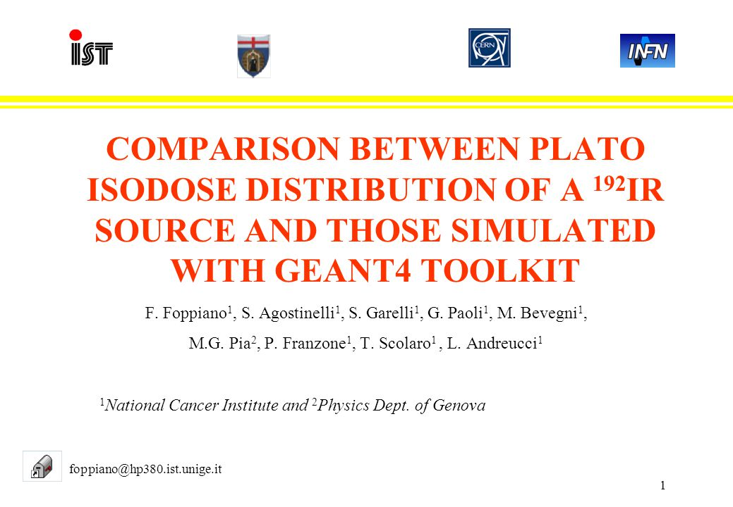 1 COMPARISON BETWEEN PLATO ISODOSE DISTRIBUTION OF A 192 IR SOURCE AND THOSE SIMULATED WITH GEANT4 TOOLKIT F.