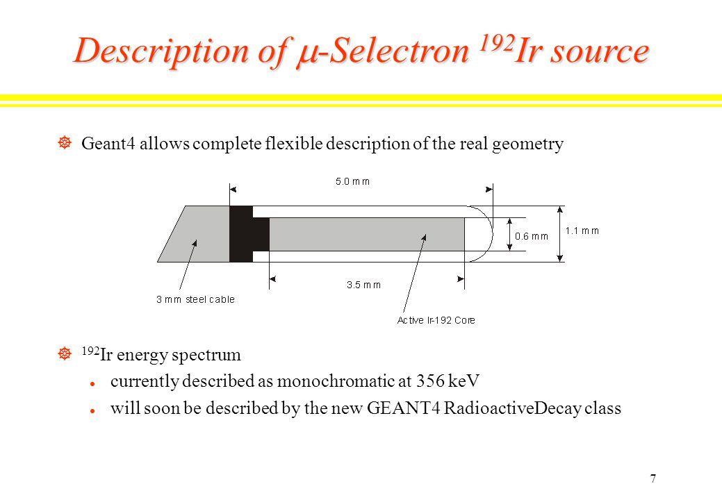 7 Description of  -Selectron 192 Ir source ]Geant4 allows complete flexible description of the real geometry ] 192 Ir energy spectrum l currently described as monochromatic at 356 keV l will soon be described by the new GEANT4 RadioactiveDecay class