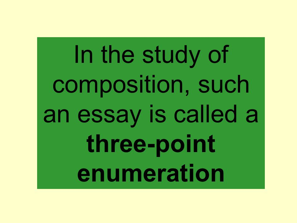 In the study of composition, such an essay is called a three-point enumeration