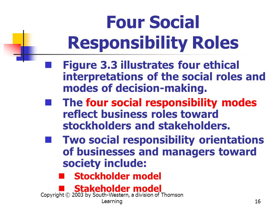 Copyright © 2003 by South-Western, a division of Thomson Learning16 Four Social Responsibility Roles Figure 3.3 illustrates four ethical interpretatio