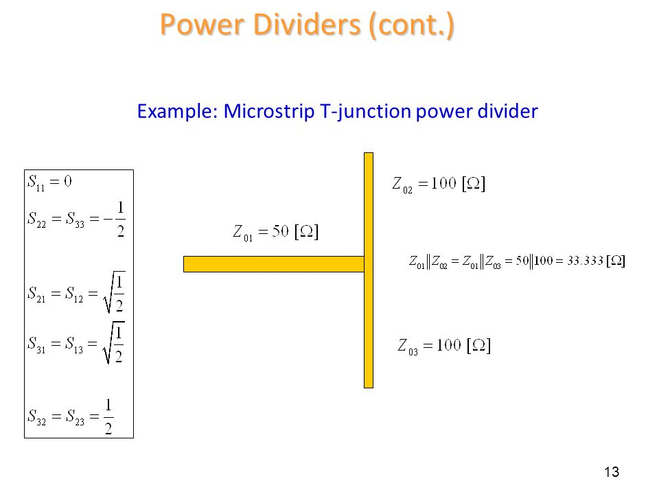 Example: Microstrip T-junction power divider 13 Power Dividers (cont.)