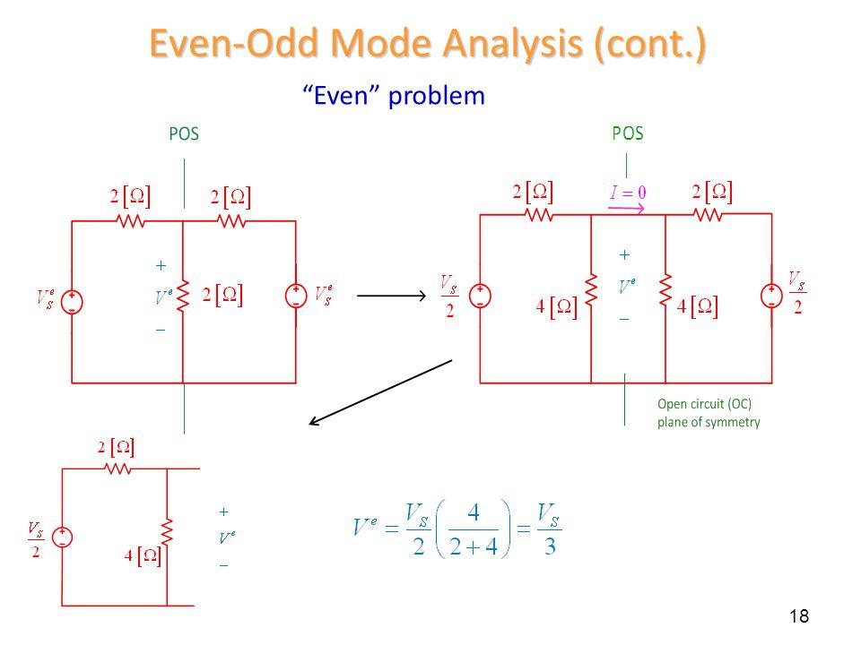 """Even"" problem 18 Even-Odd Mode Analysis (cont.)"