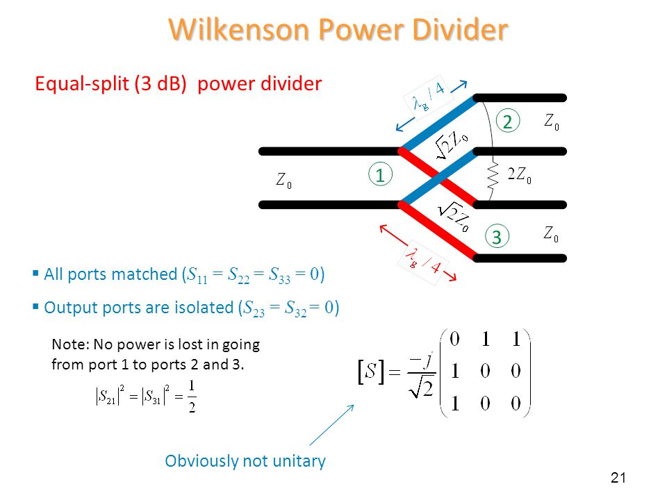 Wilkenson Power Divider Equal-split (3 dB) power divider  All ports matched ( S 11 = S 22 = S 33 = 0 )  Output ports are isolated ( S 23 = S 32 = 0