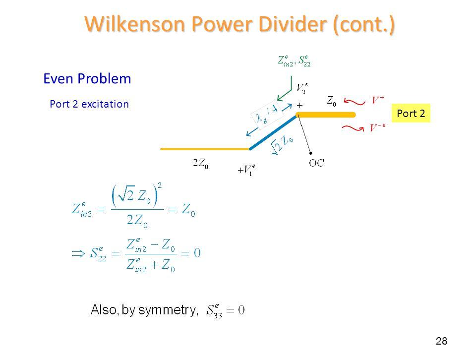 28 Wilkenson Power Divider (cont.) Even Problem Port 2 excitation Port 2