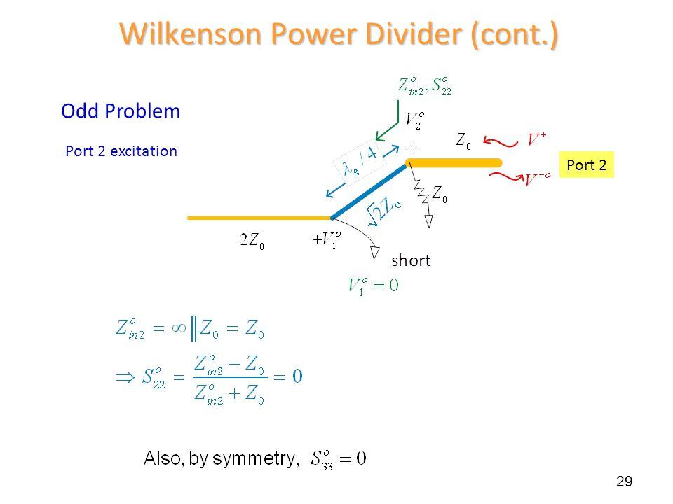 29 Wilkenson Power Divider (cont.) Port 2 Odd Problem Port 2 excitation