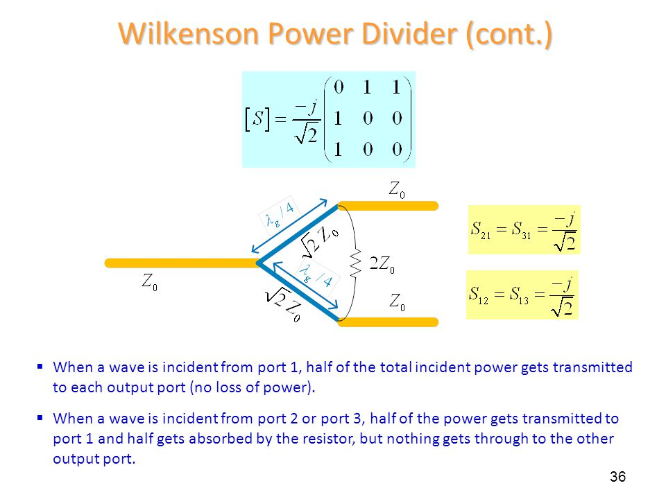 36 Wilkenson Power Divider (cont.)  When a wave is incident from port 1, half of the total incident power gets transmitted to each output port (no lo