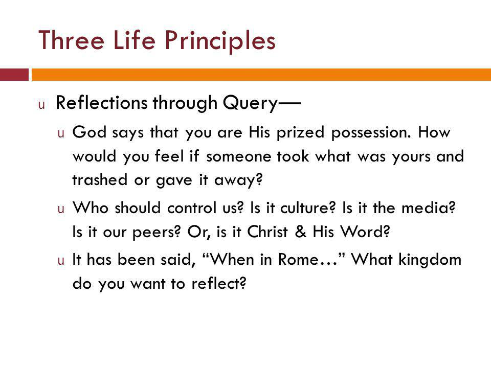 Three Life Principles u Reflections through Query— u God says that you are His prized possession.