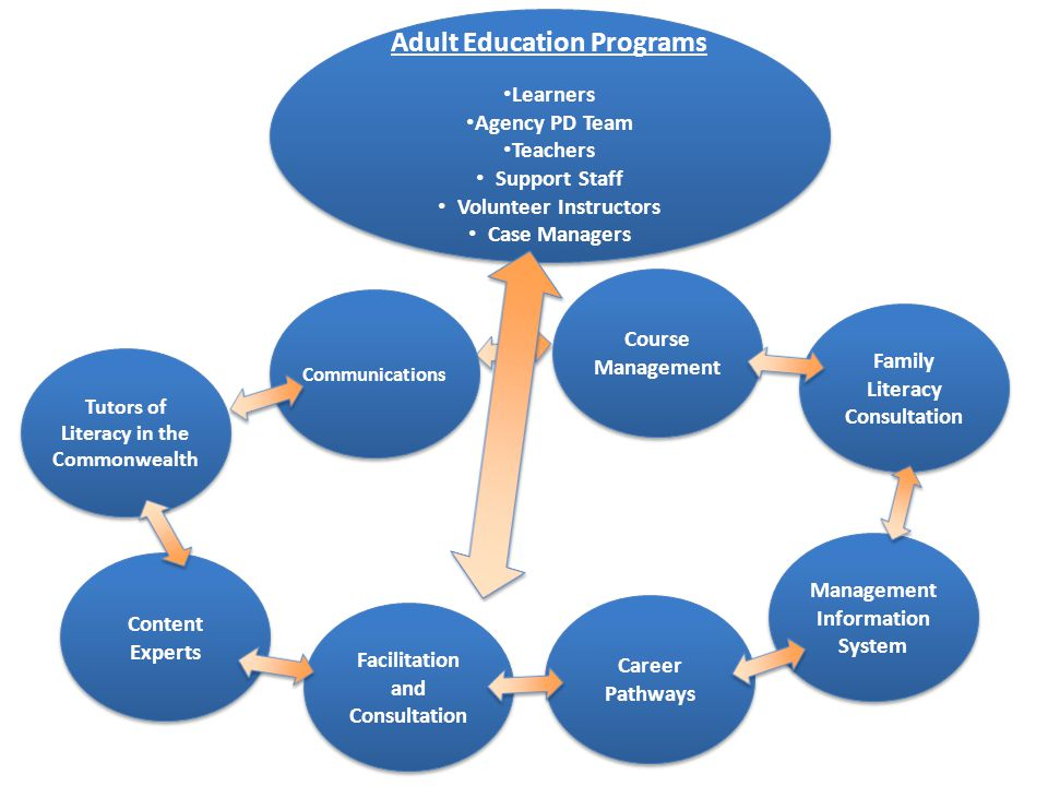 Adult Education Programs Learners Agency PD Team Teachers Support Staff Volunteer Instructors Case Managers Adult Education Programs Learners Agency PD Team Teachers Support Staff Volunteer Instructors Case Managers Management Information System Family Literacy Consultation Course Management Communications Tutors of Literacy in the Commonwealth Content Experts Facilitation and Consultation Career Pathways