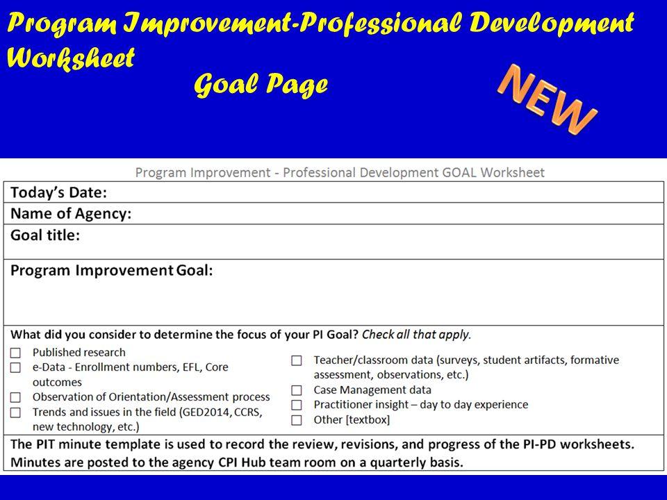 Program Improvement-Professional Development Worksheet Goal Page