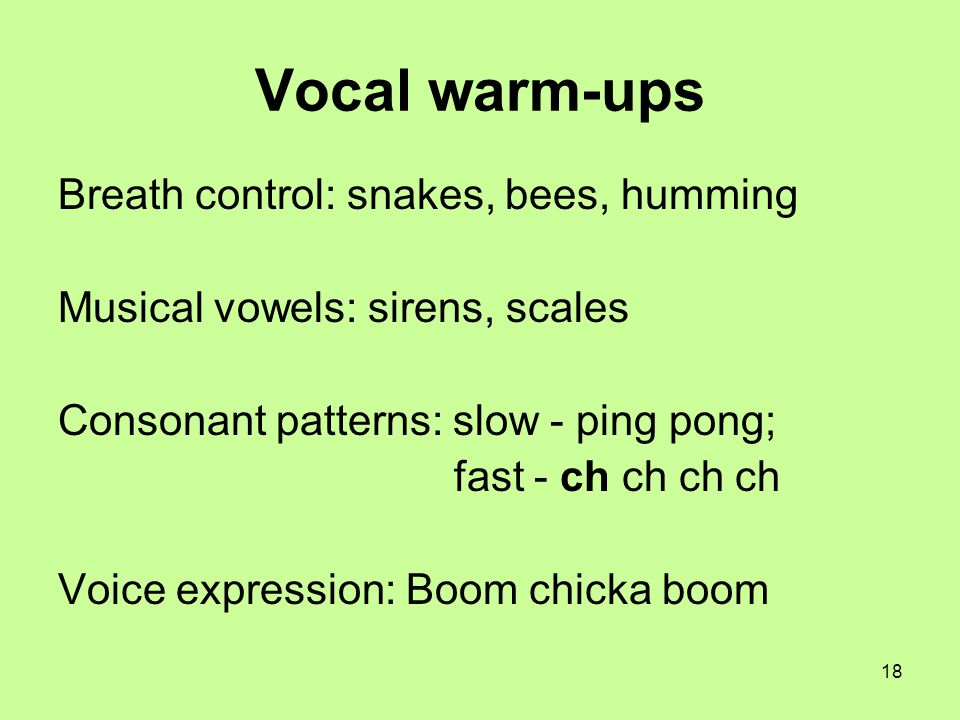 18 Vocal warm-ups Breath control: snakes, bees, humming Musical vowels: sirens, scales Consonant patterns: slow - ping pong; fast - ch ch ch ch Voice
