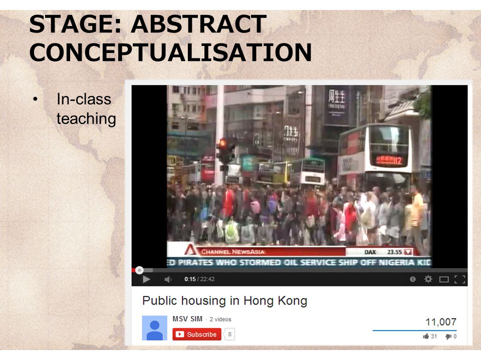STAGE: ABSTRACT CONCEPTUALISATION In-class teaching