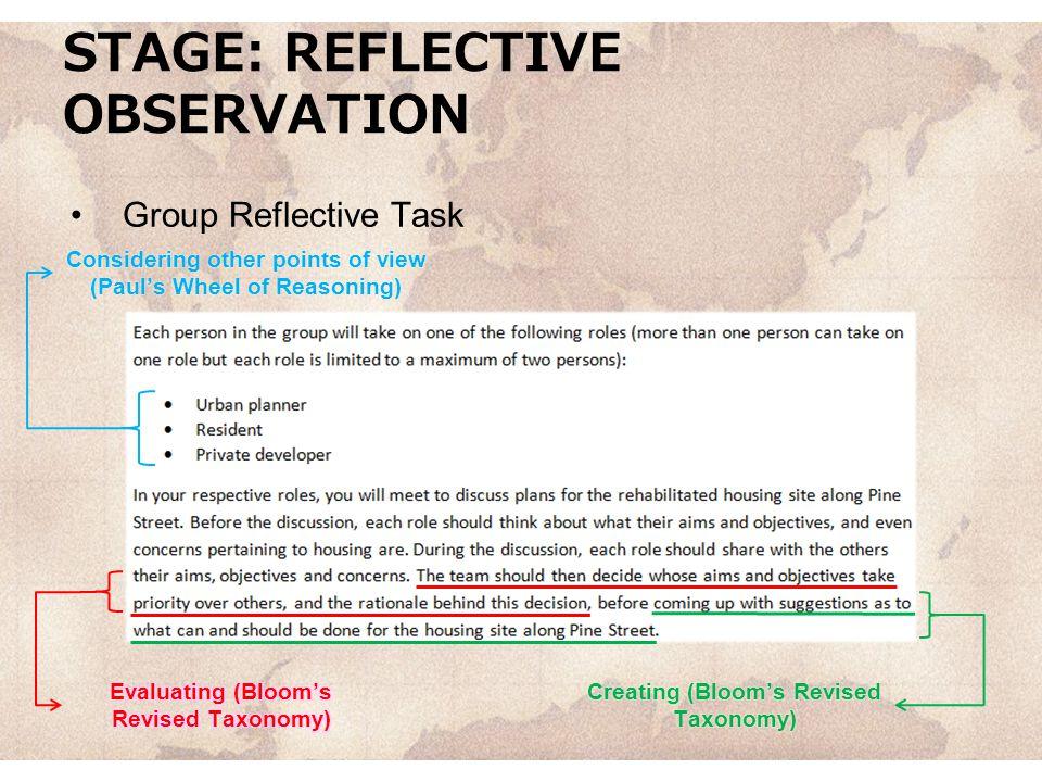 STAGE: REFLECTIVE OBSERVATION Group Reflective Task