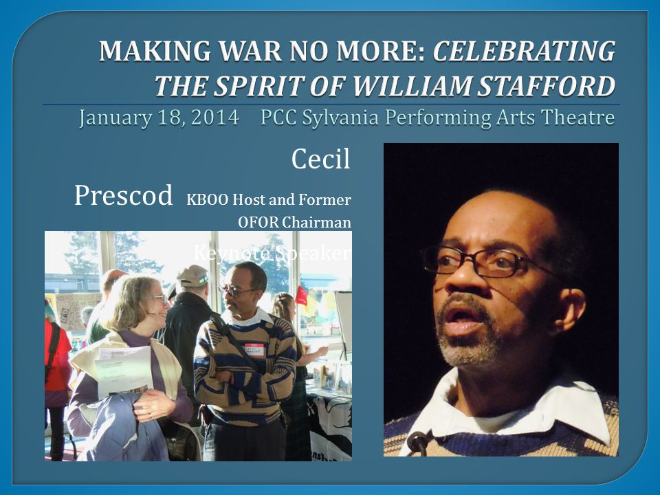 Cecil Prescod KBOO Host and Former OFOR Chairman Keynote Speaker