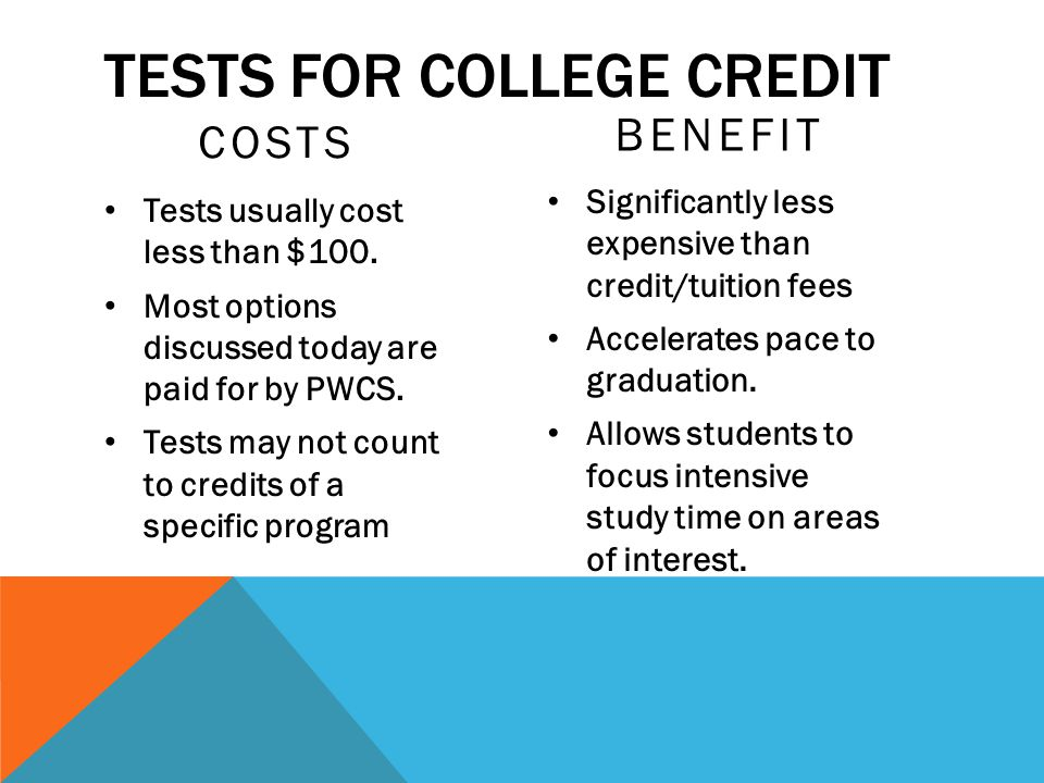TESTS FOR COLLEGE CREDIT COSTS Tests usually cost less than $100. Most options discussed today are paid for by PWCS. Tests may not count to credits of