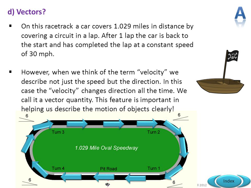 Mr Powell 2012 Index d) Vectors?  On this racetrack a car covers 1.029 miles in distance by covering a circuit in a lap. After 1 lap the car is back