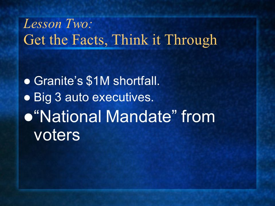 Lesson Two: Get the Facts, Think it Through Granite's $1M shortfall.