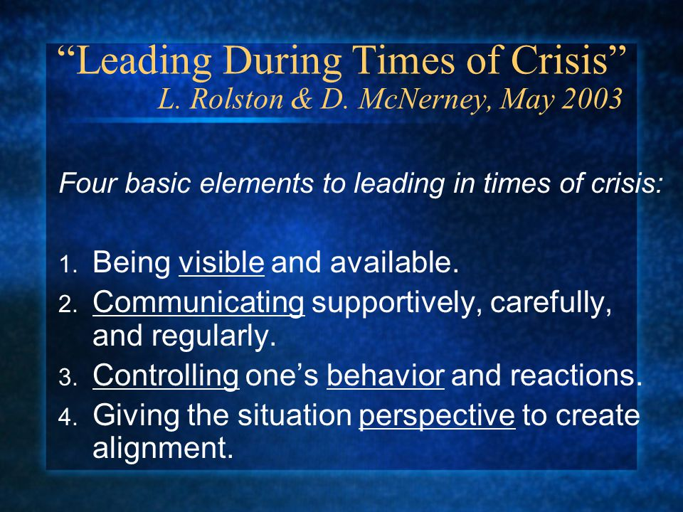 Leading During Times of Crisis L. Rolston & D.