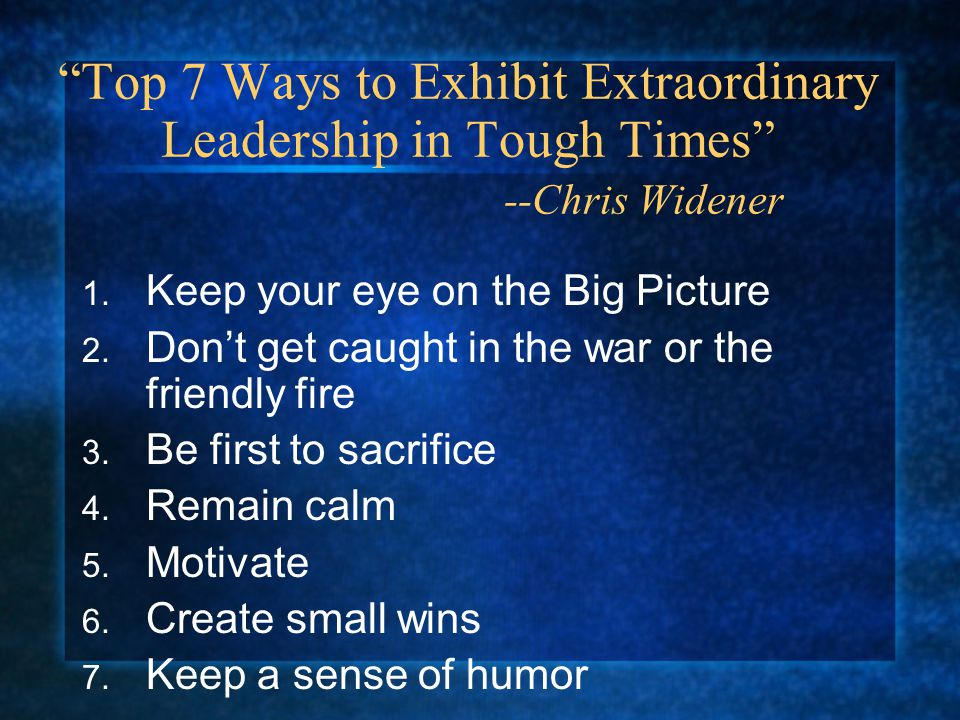 1. Keep your eye on the Big Picture 2. Don't get caught in the war or the friendly fire 3.