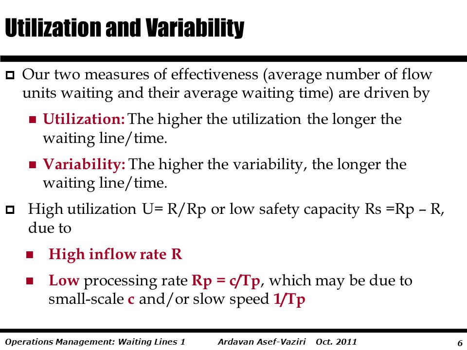 6 Ardavan Asef-Vaziri Oct. 2011Operations Management: Waiting Lines 1  Our two measures of effectiveness (average number of flow units waiting and th