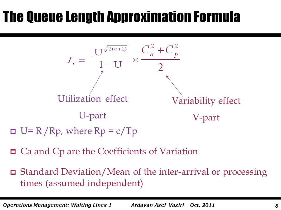 8 Ardavan Asef-Vaziri Oct. 2011Operations Management: Waiting Lines 1  U= R /Rp, where Rp = c/Tp  Ca and Cp are the Coefficients of Variation  Stan