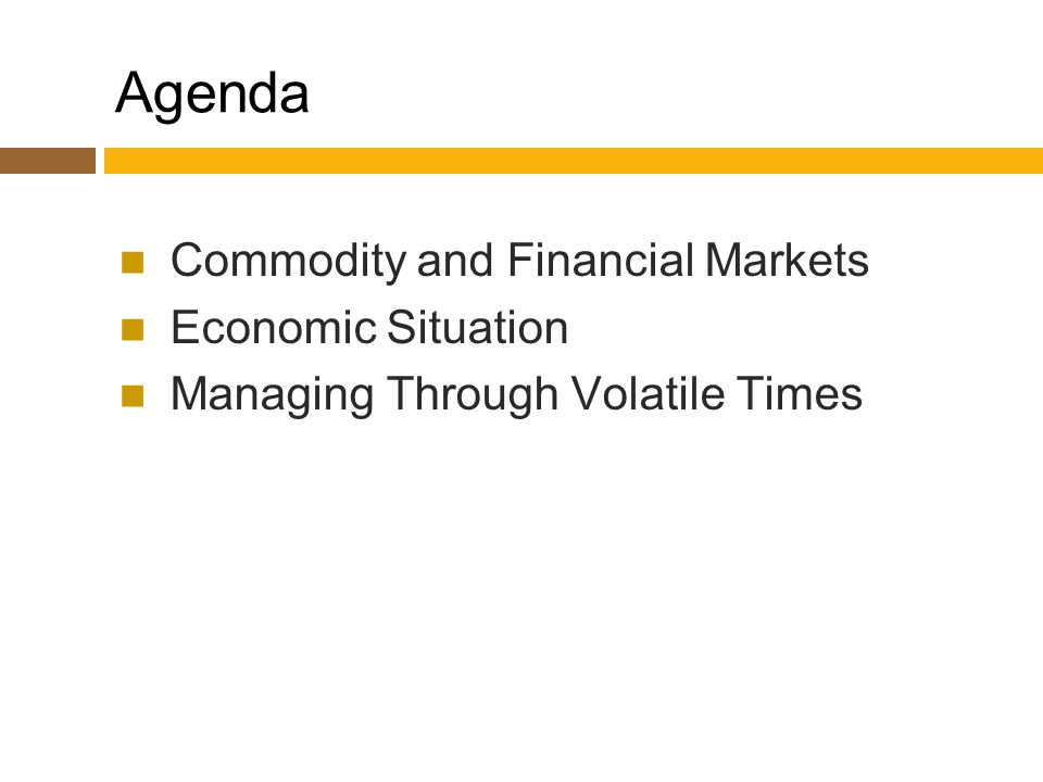 Agenda Commodity and Financial Markets Economic Situation Managing Through Volatile Times