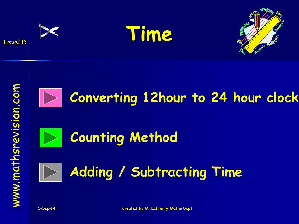5-Sep-14Created by Mr.Lafferty Maths Dept Time Converting 12hour to 24 hour clock Counting Method   Adding / Subtracting Time Level D