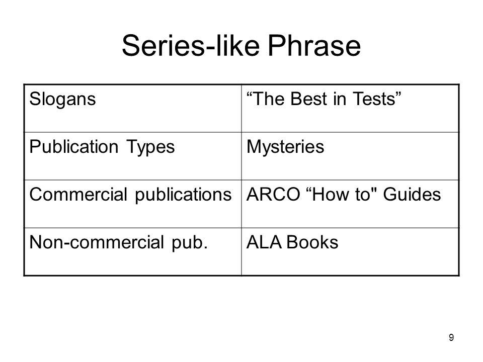 9 Series-like Phrase Slogans The Best in Tests Publication TypesMysteries Commercial publicationsARCO How to Guides Non-commercial pub.ALA Books