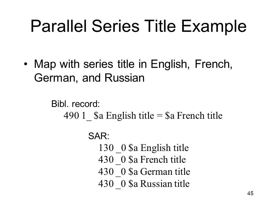 45 Parallel Series Title Example Map with series title in English, French, German, and Russian Bibl.