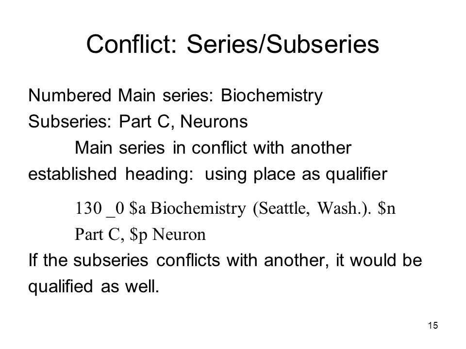 15 Conflict: Series/Subseries Numbered Main series: Biochemistry Subseries: Part C, Neurons Main series in conflict with another established heading: using place as qualifier 130 _0 $a Biochemistry (Seattle, Wash.).