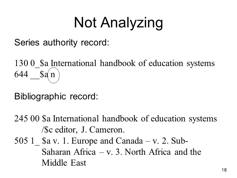 Not Analyzing Series authority record: 130 0_$a International handbook of education systems 644 __$a n Bibliographic record: 245 00 $a International handbook of education systems /$c editor, J.