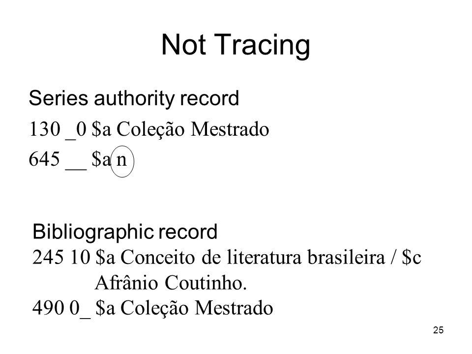 Not Tracing Series authority record 130 _0 $a Coleção Mestrado 645 __ $a n Bibliographic record 245 10 $a Conceito de literatura brasileira / $c Afrân