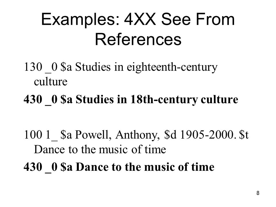 8 Examples: 4XX See From References 130 _0 $a Studies in eighteenth-century culture 430 _0 $a Studies in 18th-century culture 100 1_ $a Powell, Anthony, $d 1905-2000.