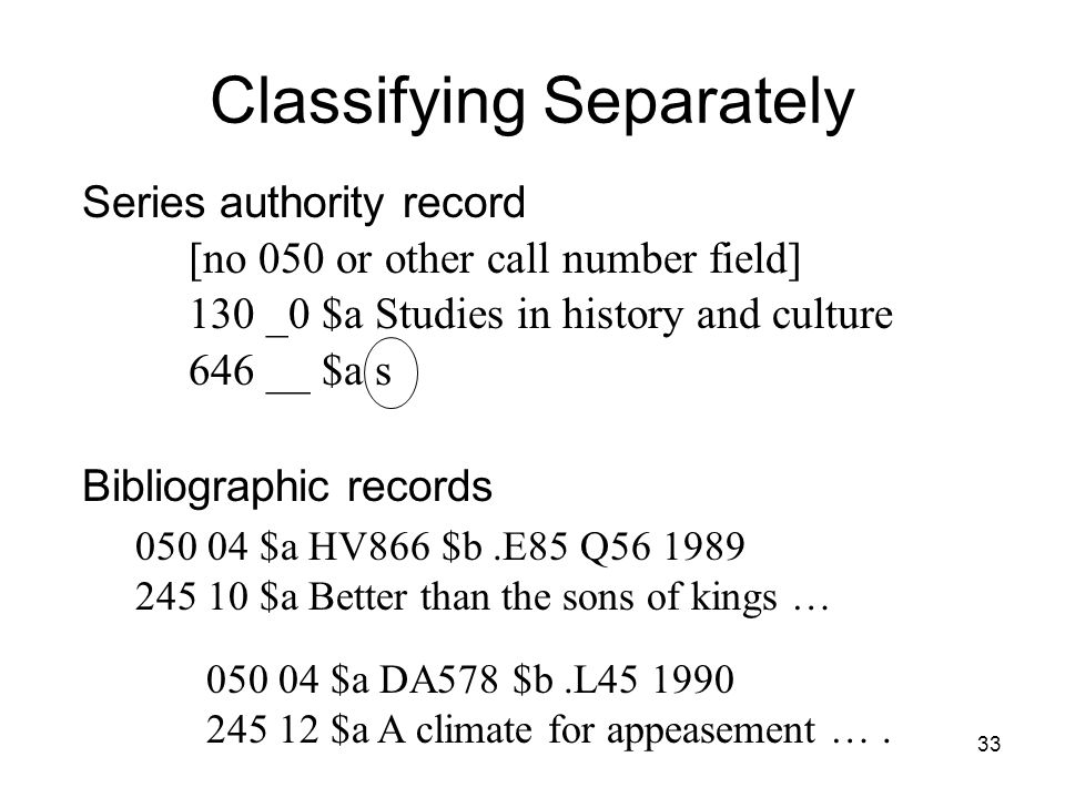 Classifying Separately 050 04 $a DA578 $b.L45 1990 245 12 $a A climate for appeasement ….
