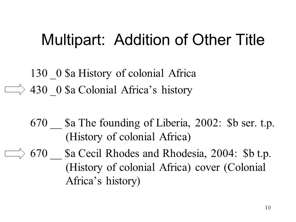 10 Multipart: Addition of Other Title 130 _0 $a History of colonial Africa 430 _0 $a Colonial Africa's history 670 __ $a The founding of Liberia, 2002: $b ser.