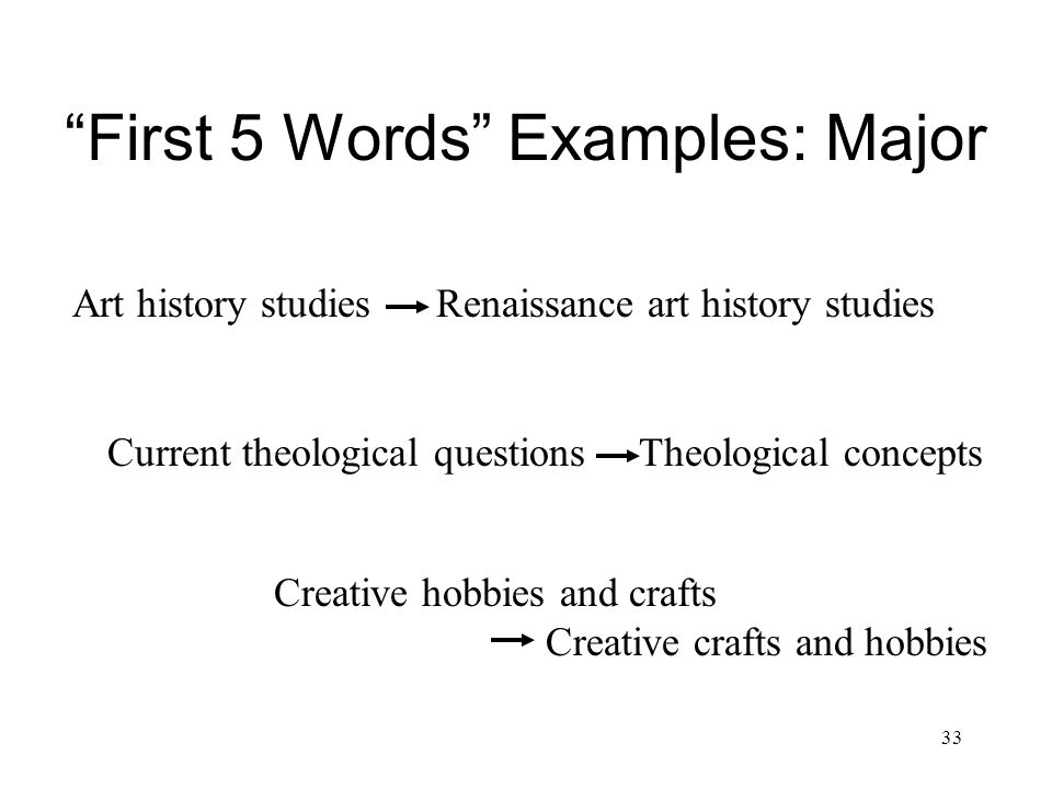 33 First 5 Words Examples: Major Current theological questions Theological concepts Art history studies Renaissance art history studies Creative hobbies and crafts Creative crafts and hobbies