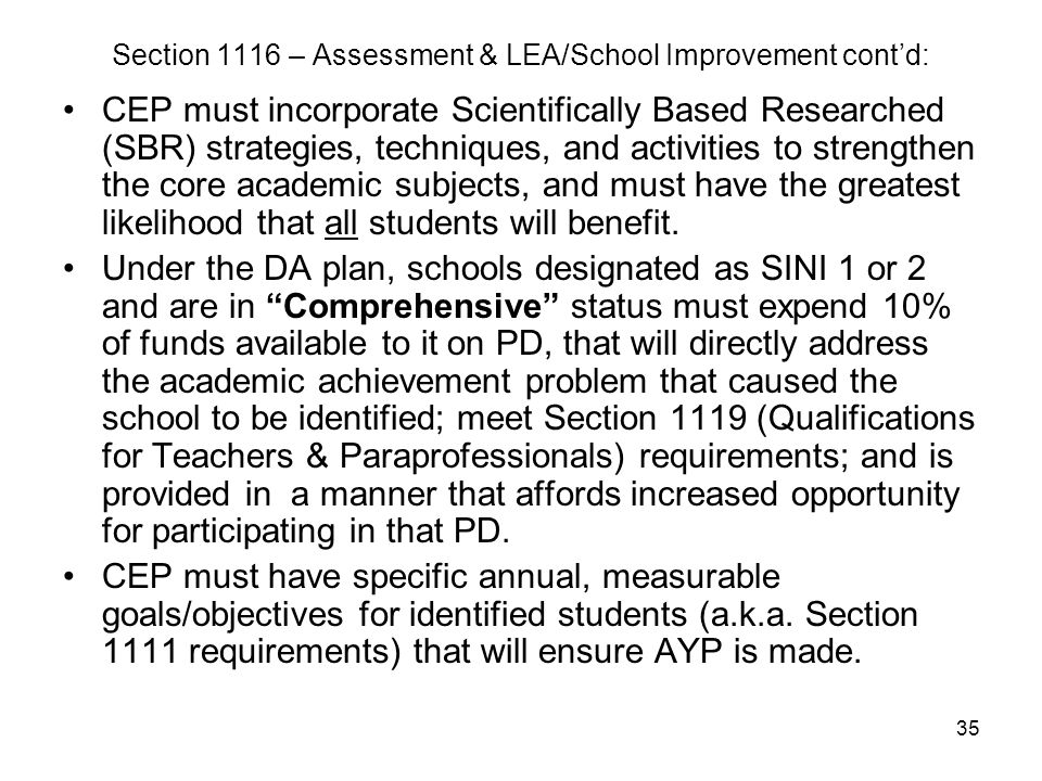 35 Section 1116 – Assessment & LEA/School Improvement cont'd: CEP must incorporate Scientifically Based Researched (SBR) strategies, techniques, and a