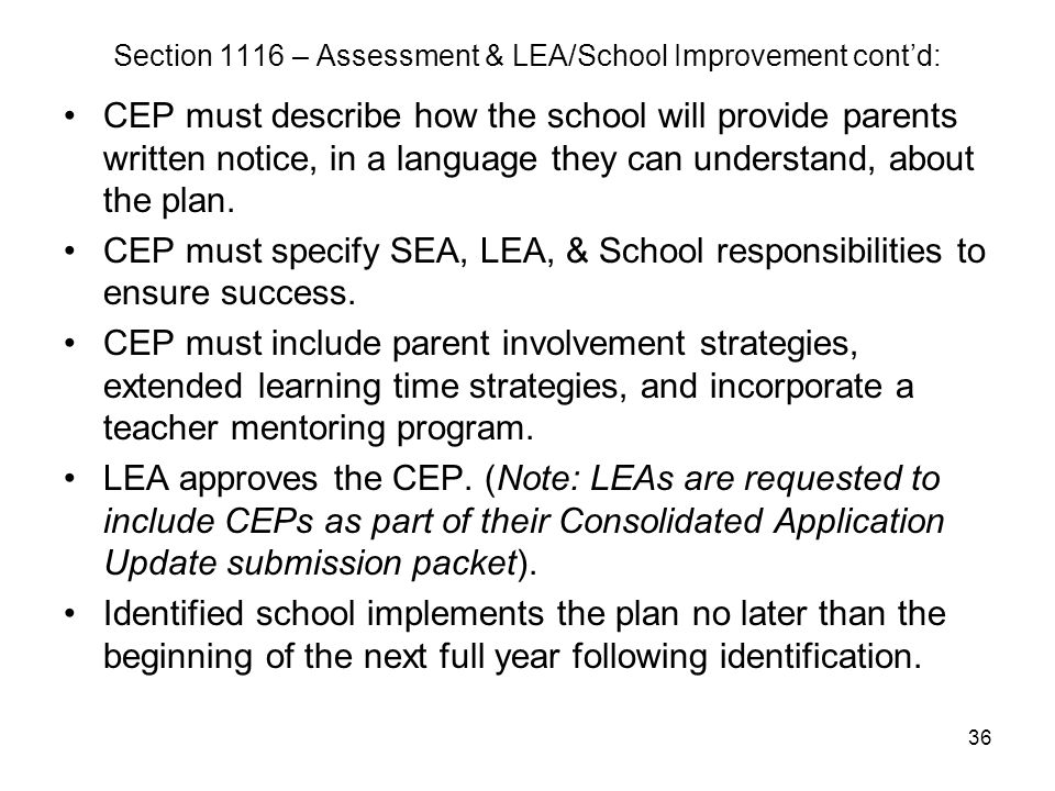 36 Section 1116 – Assessment & LEA/School Improvement cont'd: CEP must describe how the school will provide parents written notice, in a language they